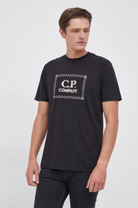 czarny C.P. Company - T-shirt bawełniany Męski