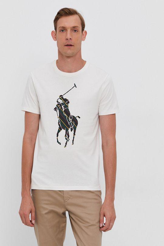 kremowy Polo Ralph Lauren - T-shirt bawełniany Męski