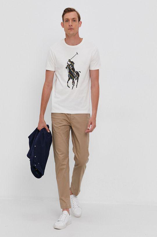 Polo Ralph Lauren - T-shirt bawełniany kremowy