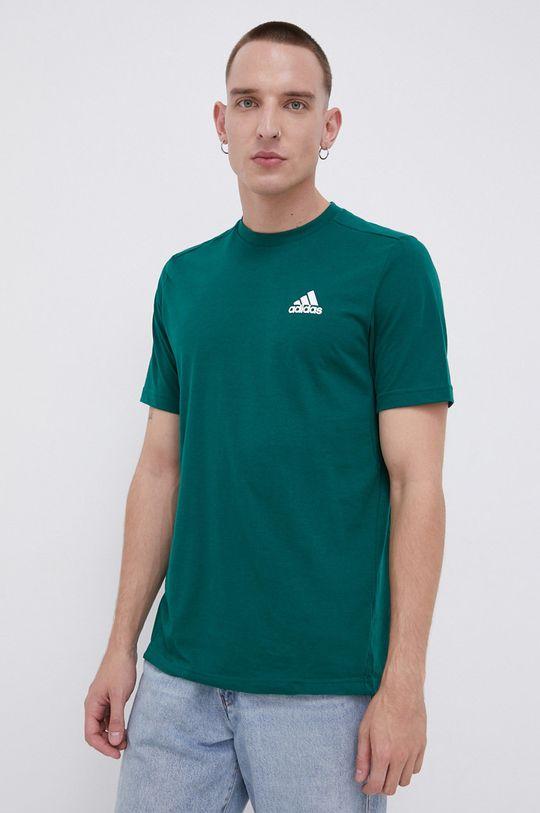 ciemny zielony adidas - T-shirt Męski
