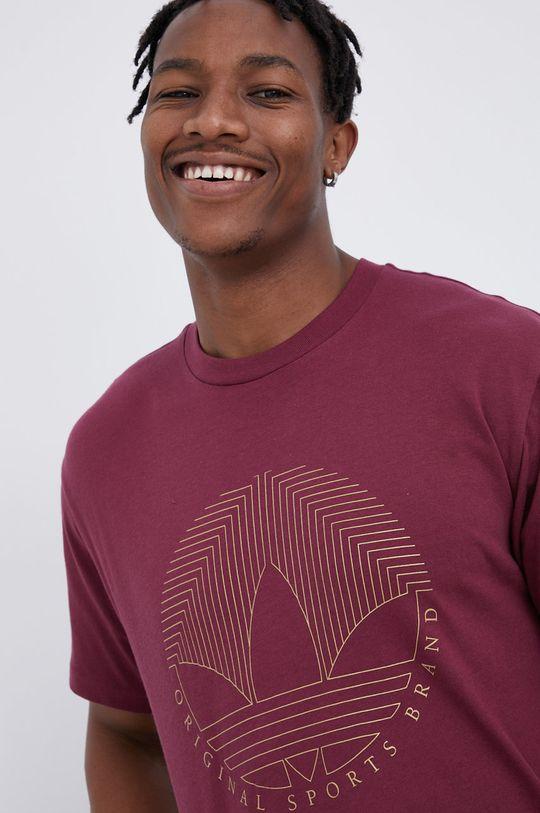 purpurowy adidas Originals - T-shirt bawełniany