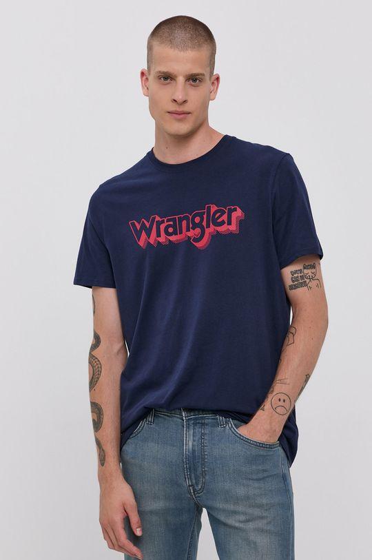 granatowy Wrangler - T-shirt bawełniany Męski