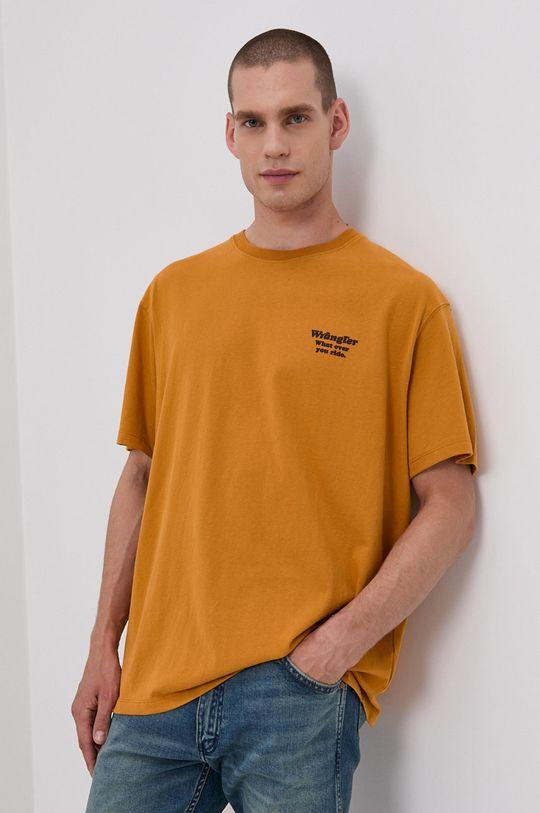 žlutá Wrangler - Bavlněné tričko Pánský