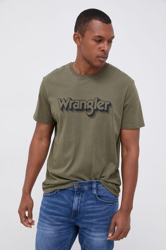 zielony Wrangler - T-shirt bawełniany Męski