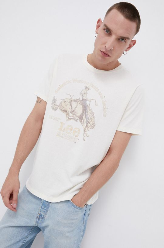 Lee - T-shirt bawełniany kremowy
