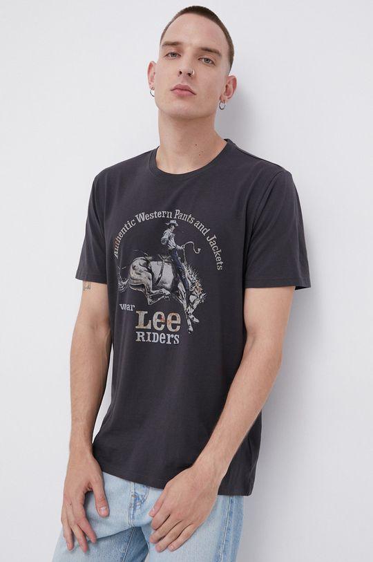 czarny Lee - T-shirt bawełniany Męski
