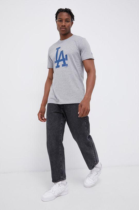 New Era - T-shirt bawełniany szary