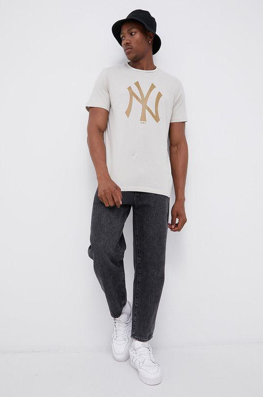 New Era - T-shirt bawełniany piaskowy