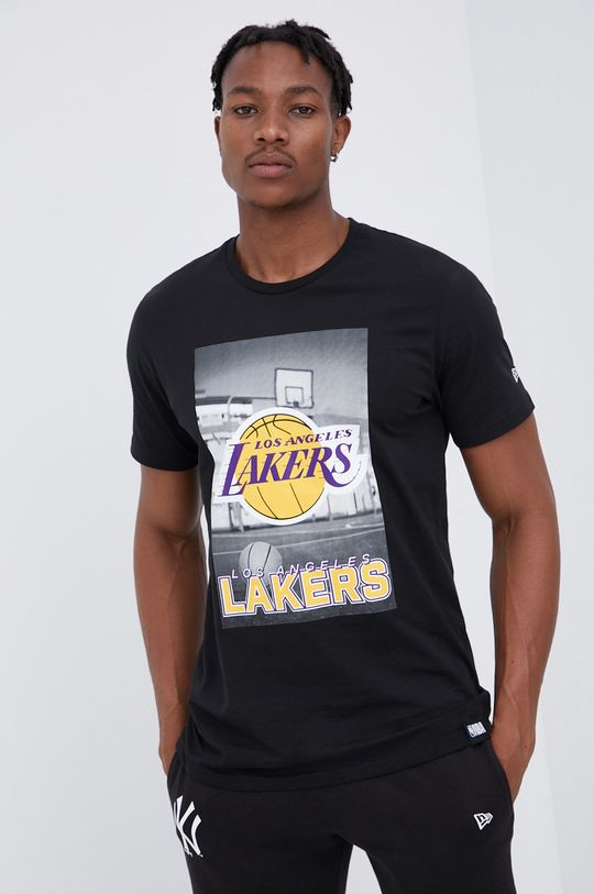 czarny New Era - T-shirt bawełniany Męski