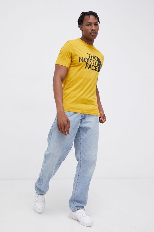 The North Face - Bavlnené tričko horčicová