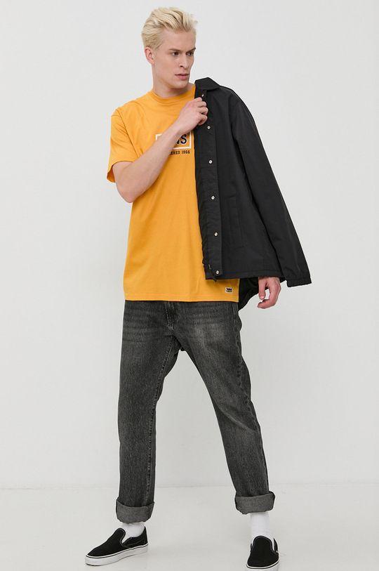 Vans - Tricou din bumbac masliniu cald