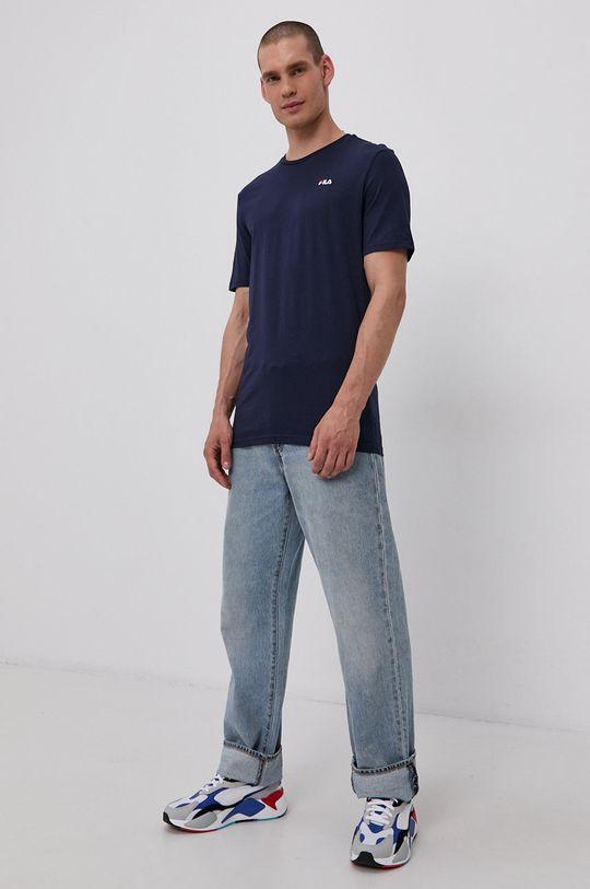Fila - Bavlnené tričko tmavomodrá