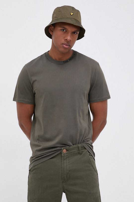 brązowa zieleń The North Face - T-shirt bawełniany Męski