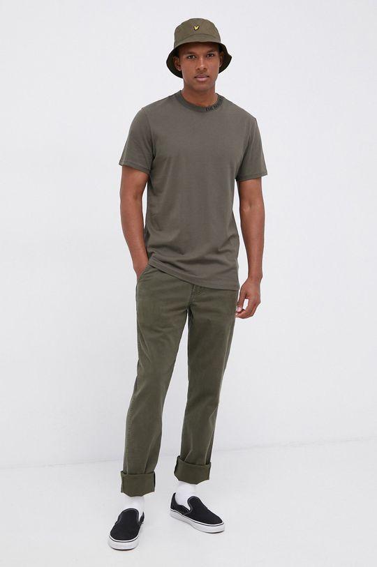The North Face - T-shirt bawełniany brązowa zieleń