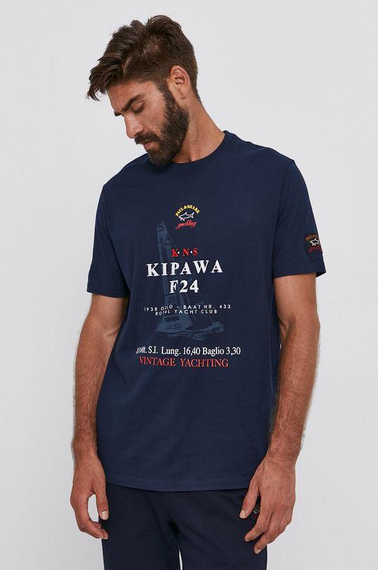 granatowy PAUL&SHARK - T-shirt bawełniany Męski