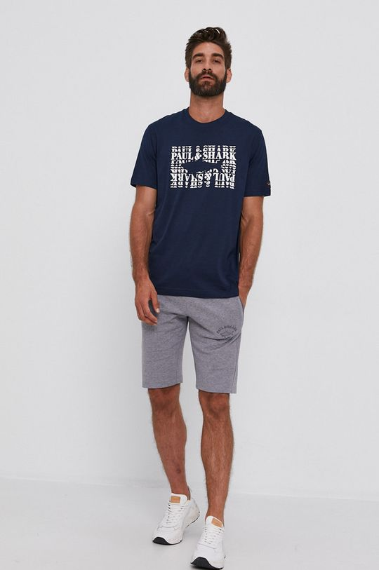 PAUL&SHARK - T-shirt bawełniany granatowy