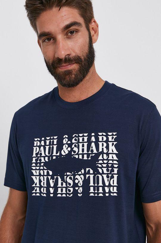 granatowy PAUL&SHARK - T-shirt bawełniany