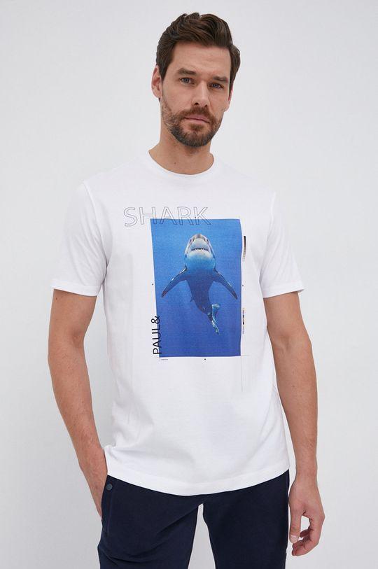 biały PAUL&SHARK - T-shirt bawełniany Męski