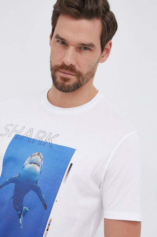 biały PAUL&SHARK - T-shirt bawełniany