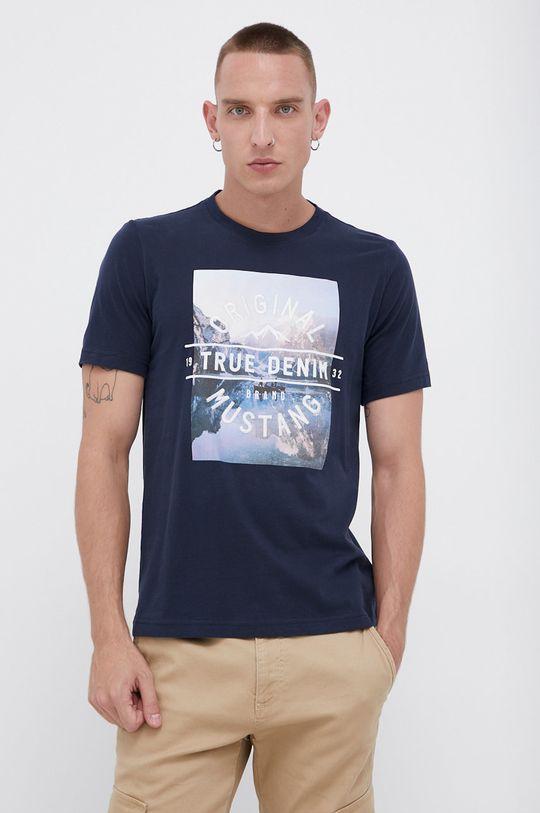 granatowy Mustang - T-shirt bawełniany Męski