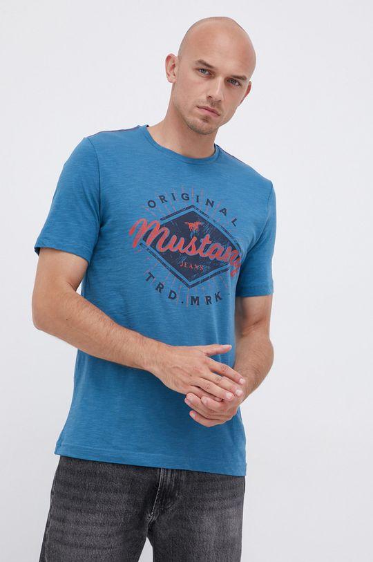 modrá Mustang - Bavlněné tričko Pánský