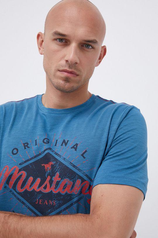 Mustang - Bavlněné tričko modrá