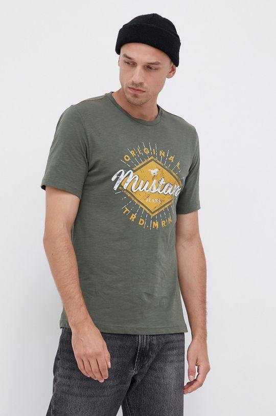 zelená Mustang - Bavlněné tričko Pánský