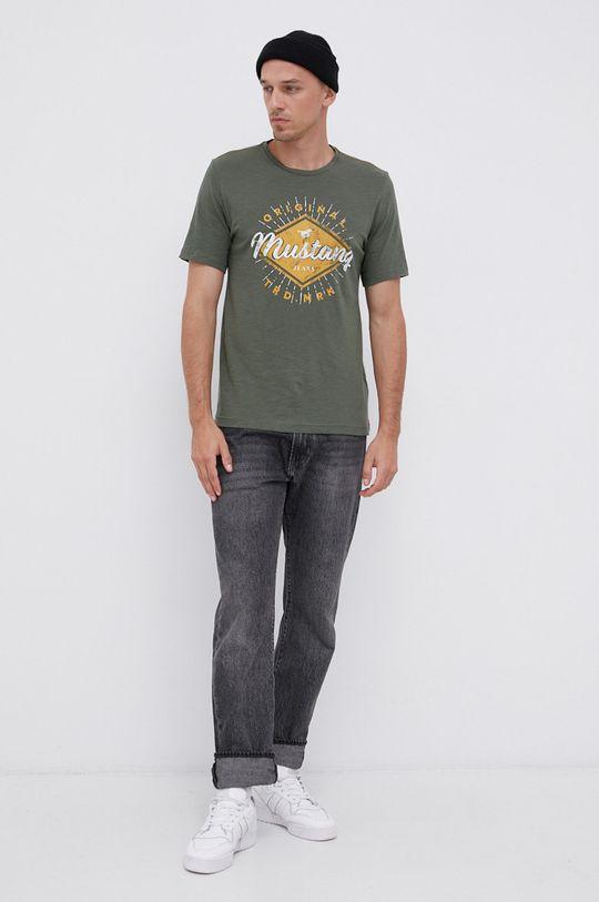 Mustang - Bavlněné tričko zelená