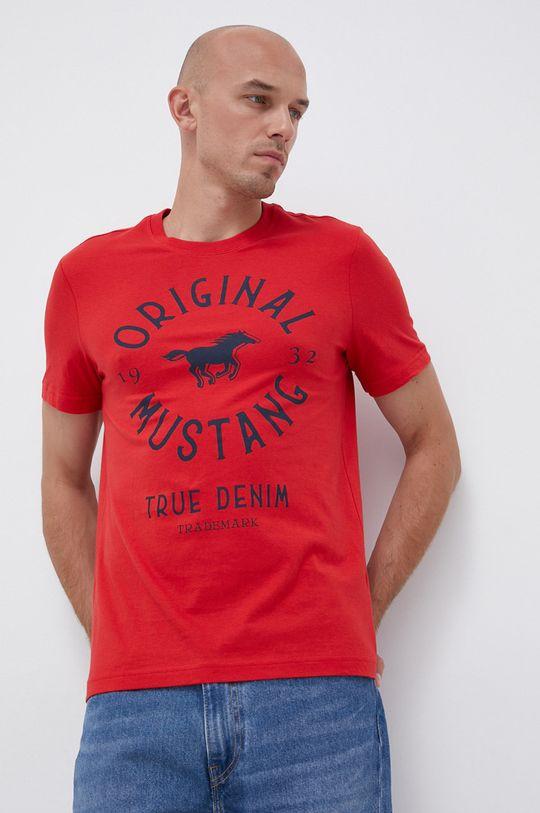 červená Mustang - Bavlněné tričko Pánský
