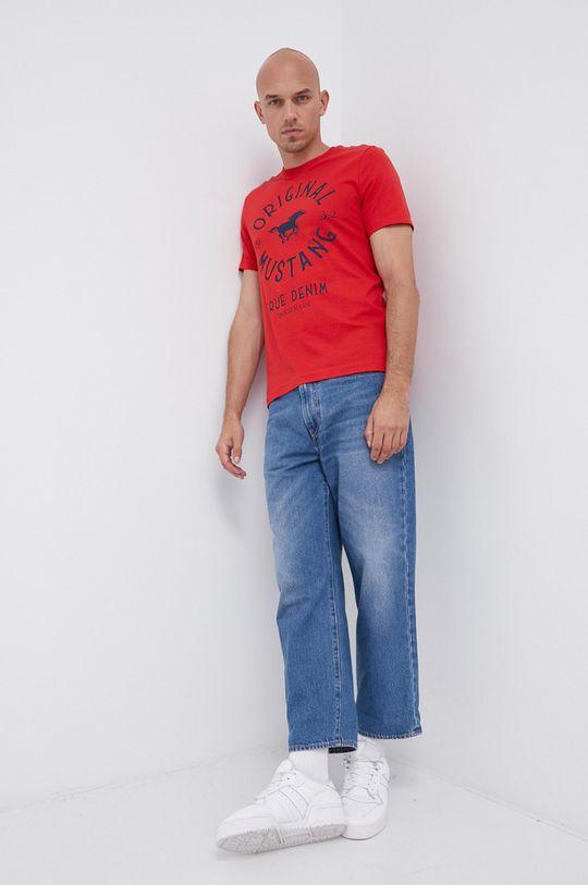 Mustang - Bavlněné tričko červená