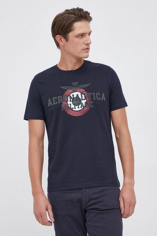 granatowy Aeronautica Militare - T-shirt bawełniany Męski