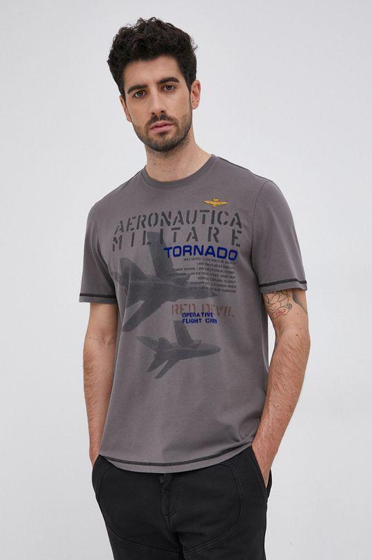 szary Aeronautica Militare - T-shirt Męski