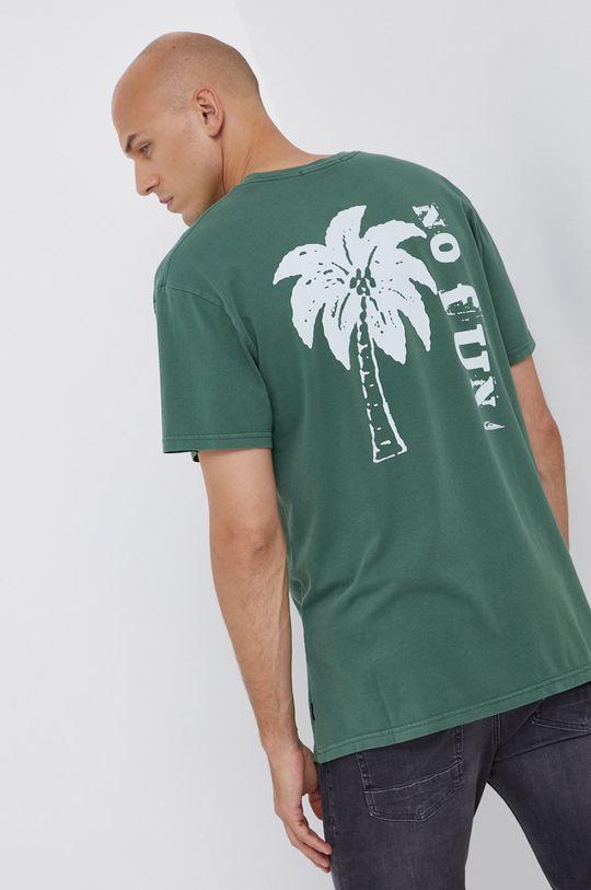 zelená Quiksilver - Bavlněné tričko Pánský