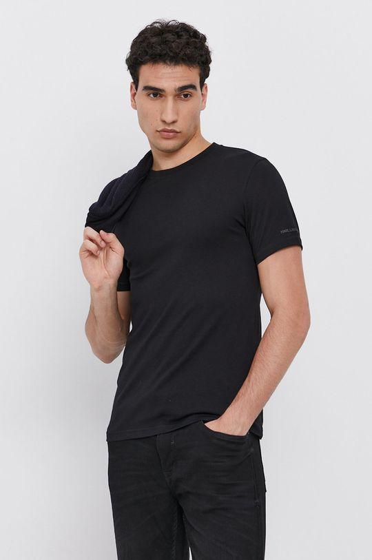 černá Karl Lagerfeld - Bavlněné tričko (2-pack) Pánský