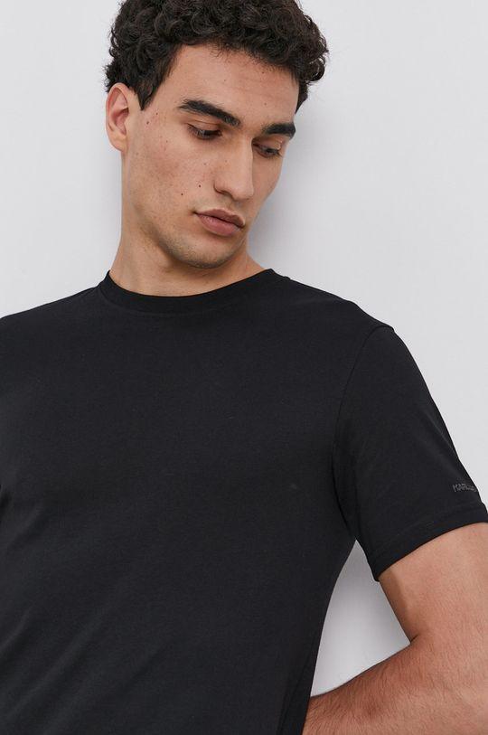 černá Karl Lagerfeld - Bavlněné tričko (2-pack)