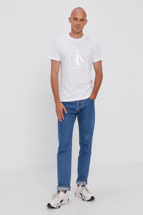 Calvin Klein Jeans - Bavlnené tričko biela