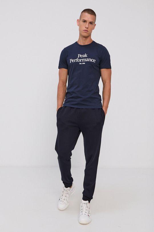 Peak Performance - T-shirt bawełniany granatowy