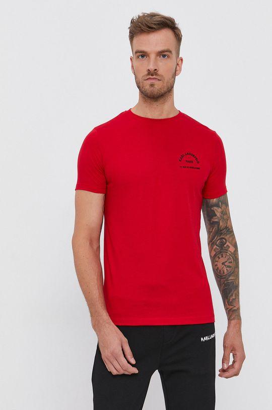 červená Karl Lagerfeld - Bavlnené tričko Pánsky