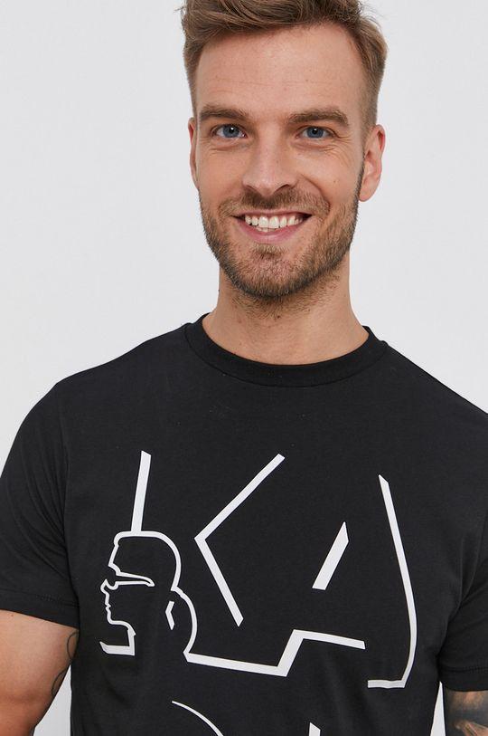 czarny Karl Lagerfeld - T-shirt bawełniany