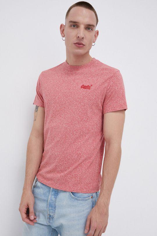 czerwony róż Superdry - T-shirt bawełniany Męski