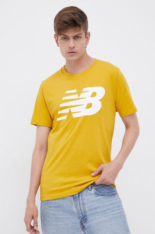 žlutá New Balance - Bavlněné tričko Pánský