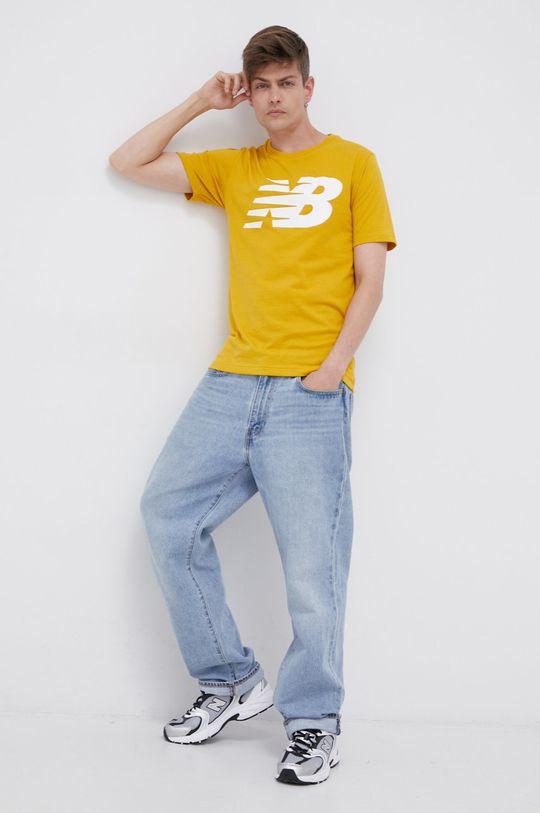 New Balance - Bavlněné tričko žlutá