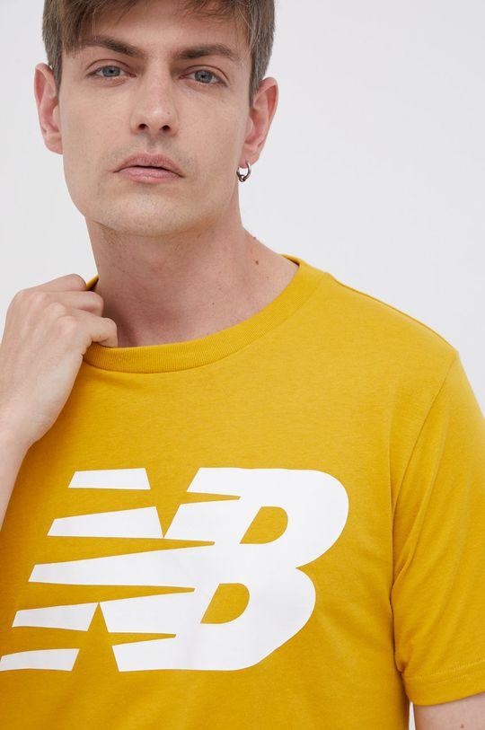 žlutá New Balance - Bavlněné tričko