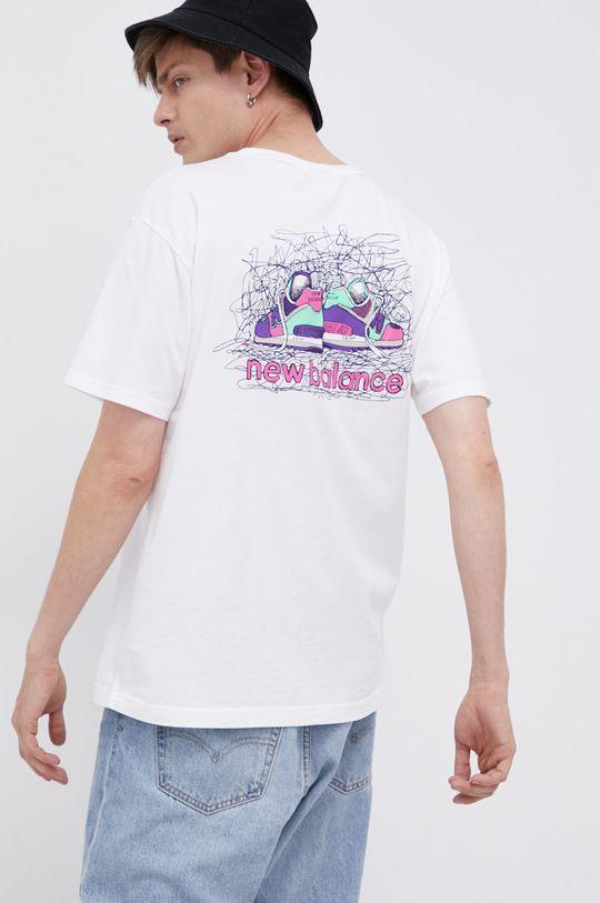 bílá New Balance - Bavlněné tričko Pánský