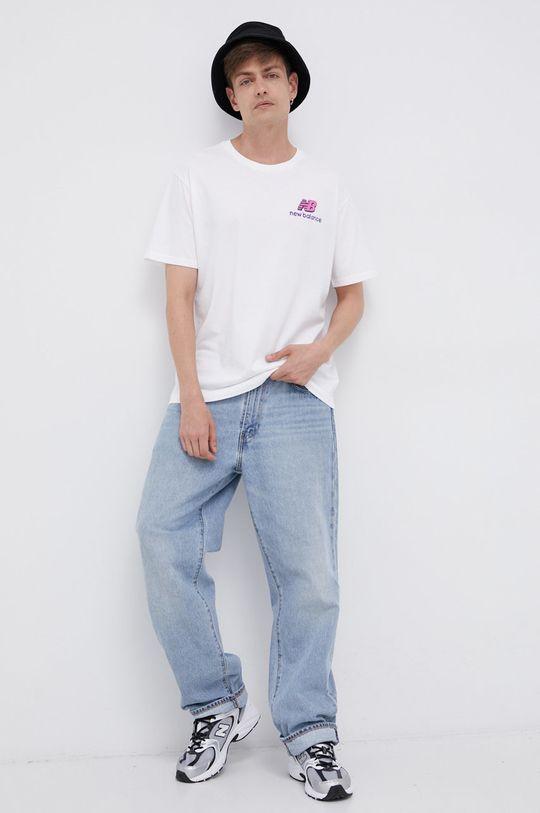 New Balance - Bavlněné tričko bílá