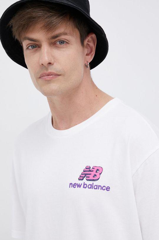 bílá New Balance - Bavlněné tričko