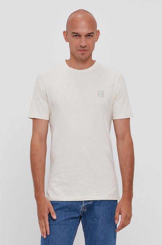 Boss - Bavlnené tričko Boss Casual krémová