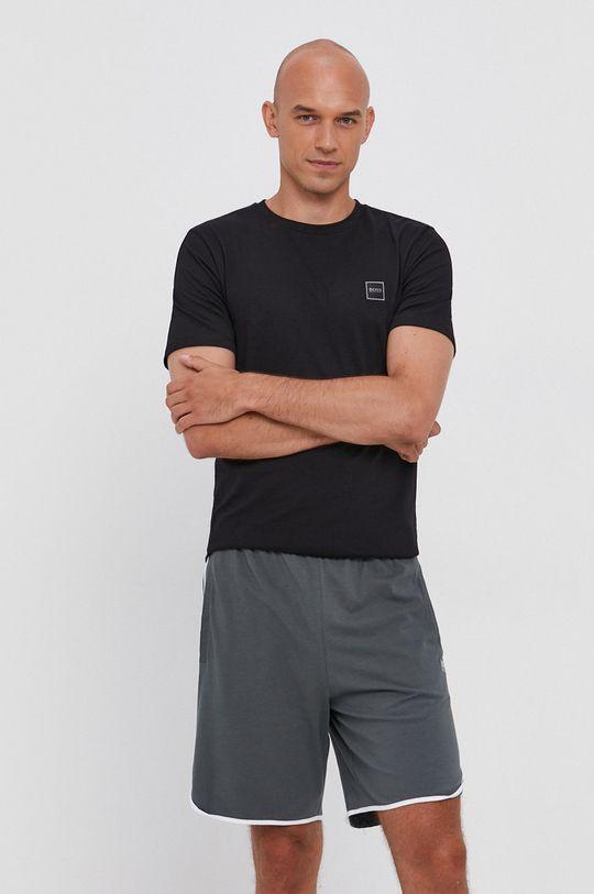 černá Boss - Bavlněné tričko Boss Casual