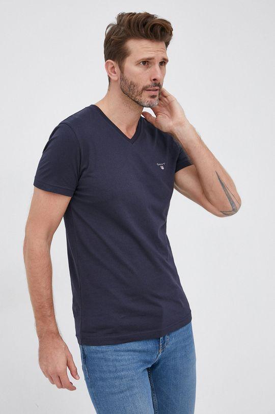 granatowy Gant - T-shirt bawełniany Męski