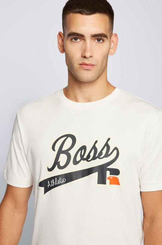 kremowy Boss - T-shirt bawełniany Boss x Russell Athletic